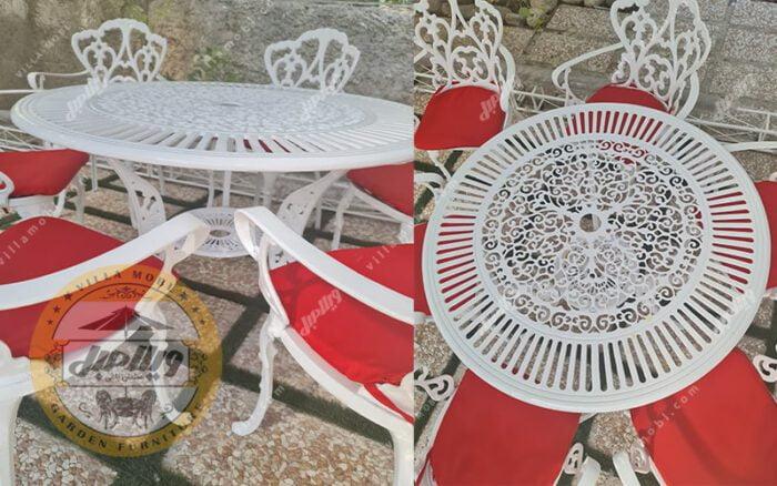میز باغی آلومینیومی مدل کبریتی قطر 110