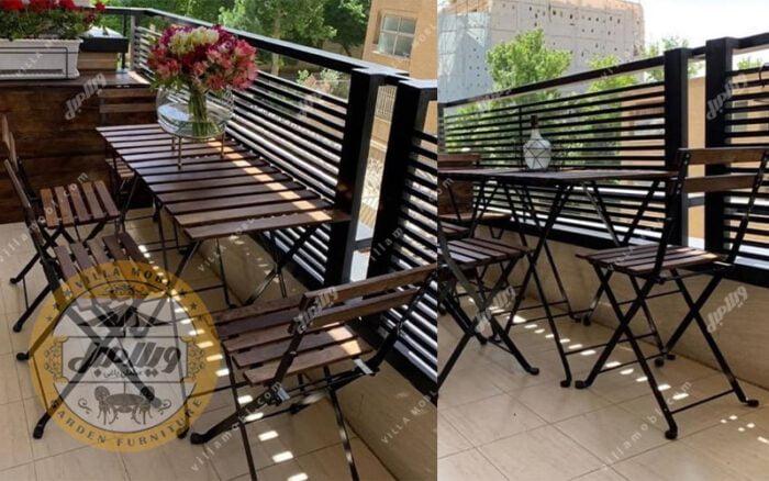 میز صندلی چوبی فلزی تاشو پیچک 4نفره
