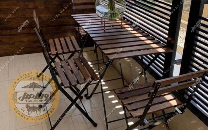 میز صندلی چوبی پیچک 4نفره